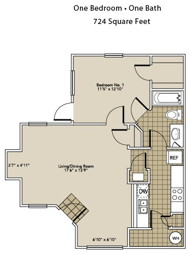 724 sq. ft. A1-A floor plan