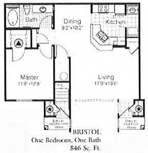846 sq. ft. to 944 sq. ft. BRISTOL floor plan