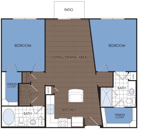 1,043 sq. ft. C1 floor plan