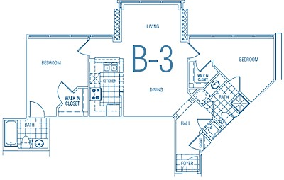 873 sq. ft. B3 30% floor plan