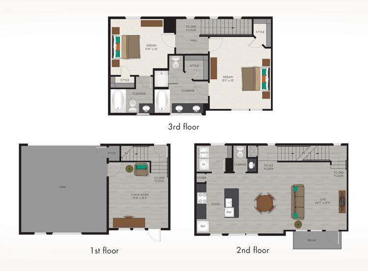 1,627 sq. ft. TH2 floor plan