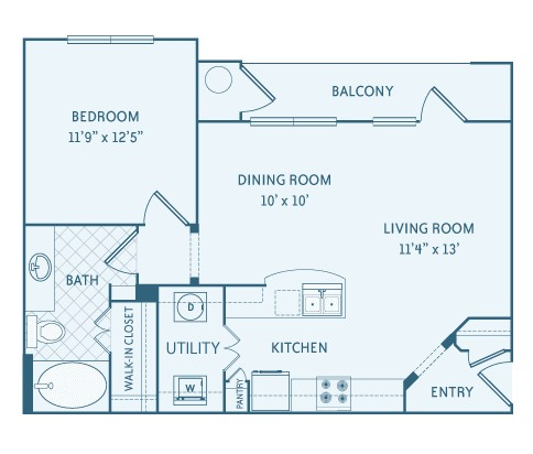 761 sq. ft. A1 floor plan