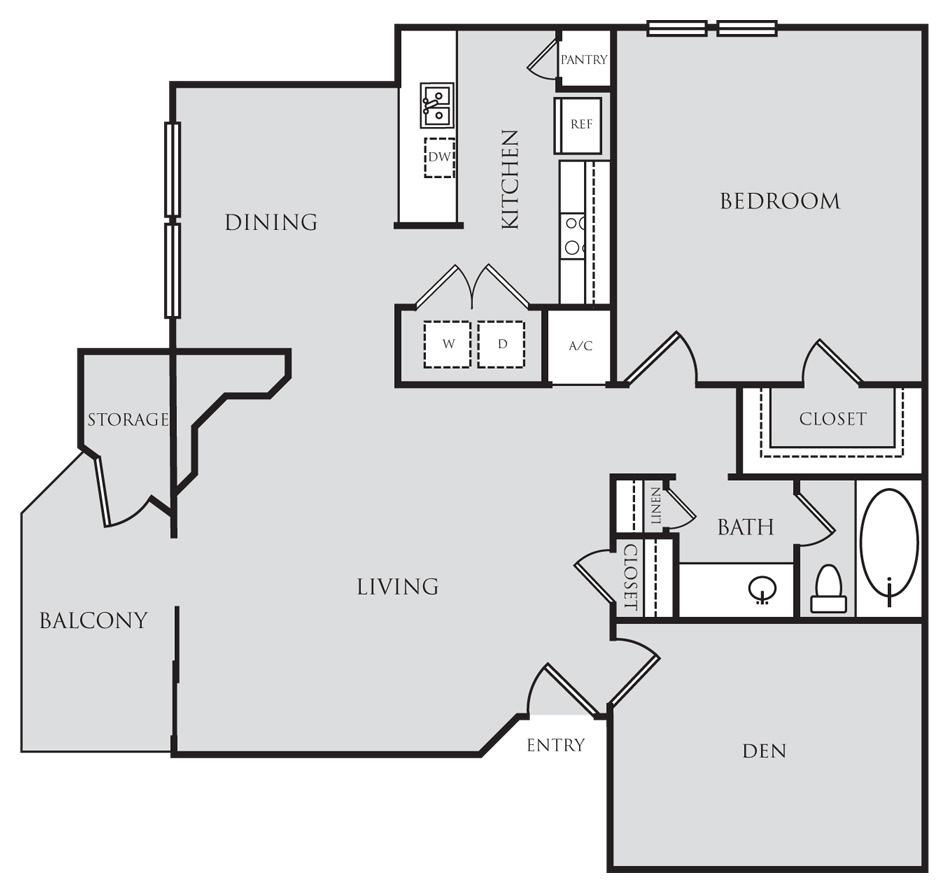 963 sq. ft. A6D floor plan