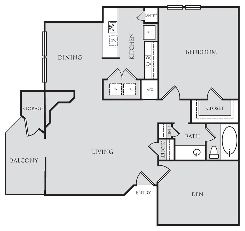 963 sq. ft. A6D floor plan