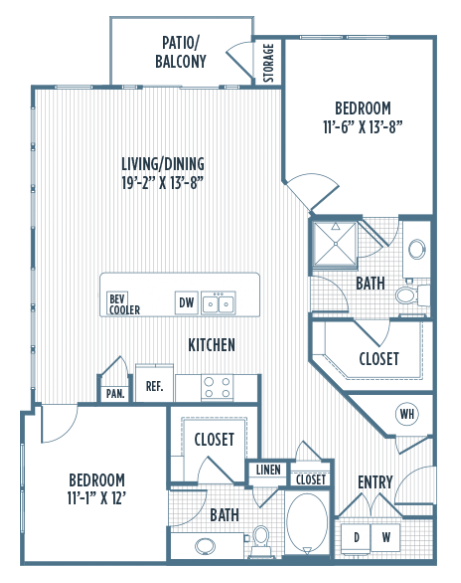 1,242 sq. ft. B2B floor plan