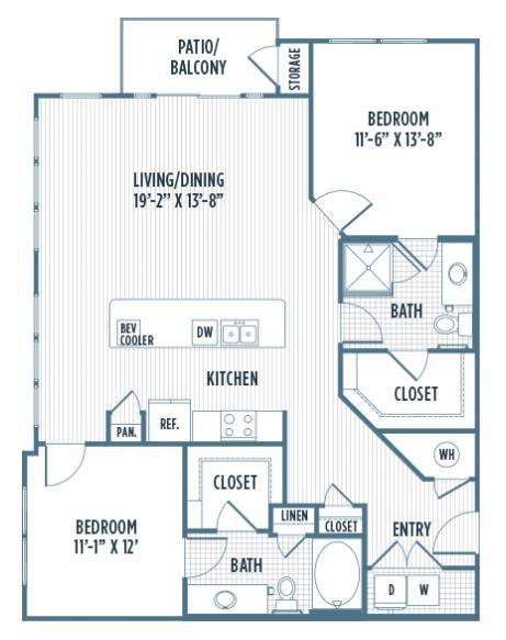 1,242 sq. ft. B2B floor plan