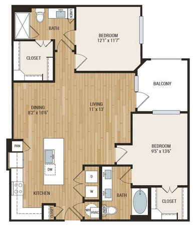 1,183 sq. ft. Wallace floor plan