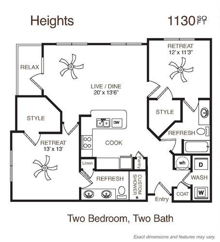 1,130 sq. ft. Heights floor plan