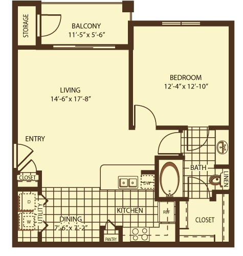 767 sq. ft. Wellington floor plan
