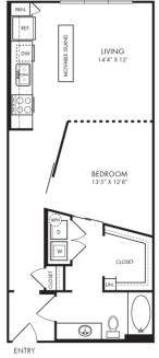 750 sq. ft. L1 floor plan