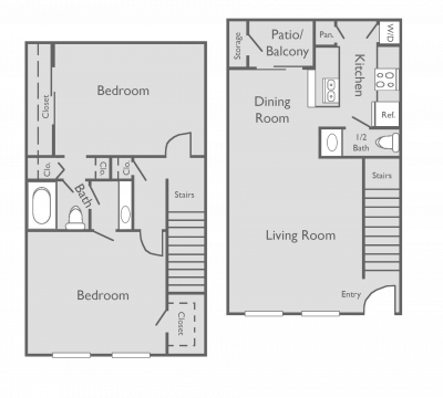 1,102 sq. ft. F floor plan