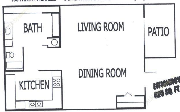 625 sq. ft. EFF floor plan