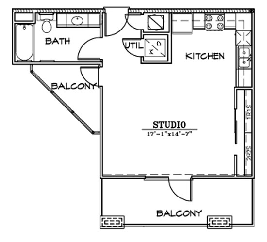 517 sq. ft. E2 floor plan