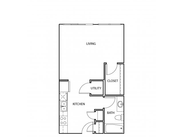 545 sq. ft. E2 floor plan