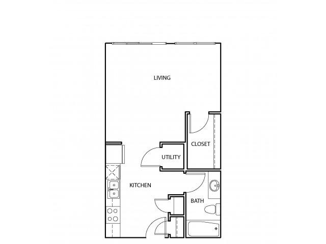 545 sq. ft. E2 floor plan