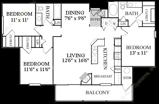 1,339 sq. ft. C1 floor plan