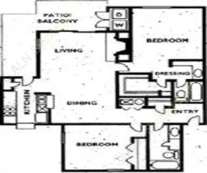 1,080 sq. ft. 2C2FW floor plan