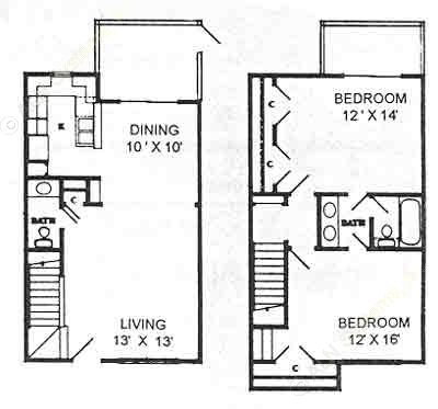 1,080 sq. ft. BTH floor plan