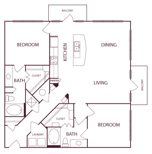 1,316 sq. ft. B2A floor plan