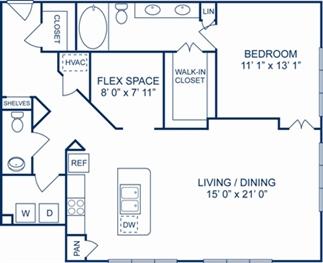 1,146 sq. ft. Paris floor plan
