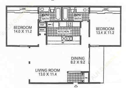 991 sq. ft. B2 floor plan
