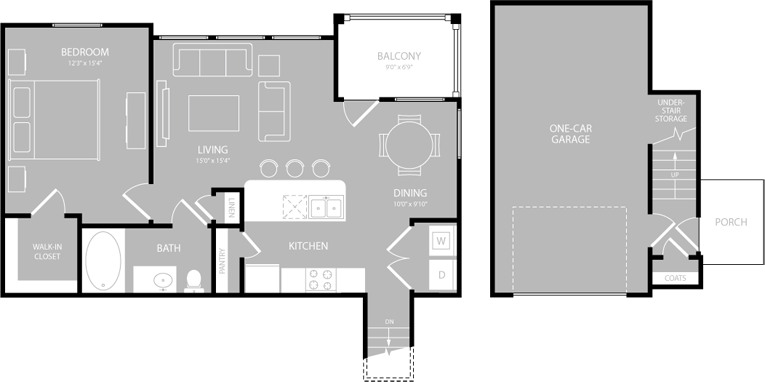 840 sq. ft. Cadenza floor plan