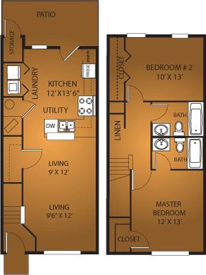 1,100 sq. ft. B2/60% floor plan