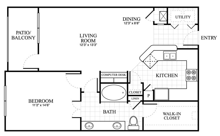 842 sq. ft. Ashton floor plan