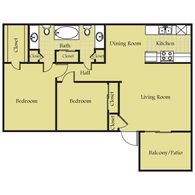 900 sq. ft. B2TH floor plan