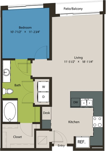 736 sq. ft. A8F floor plan