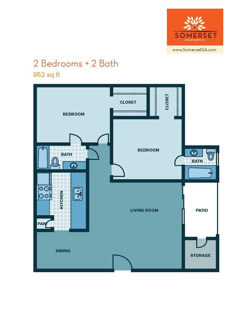 952 sq. ft. floor plan