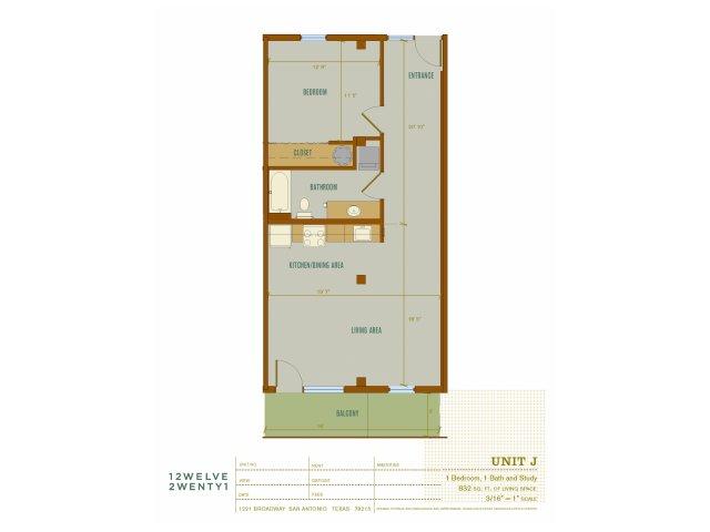 832 sq. ft. J floor plan
