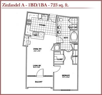 723 sq. ft. ZINFANDEL A floor plan