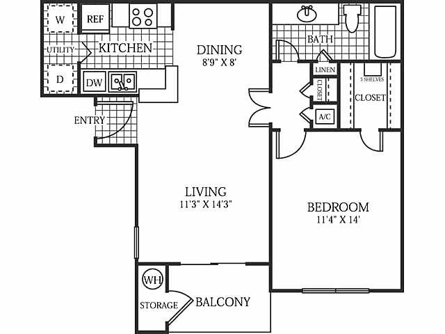 689 sq. ft. Harbor floor plan