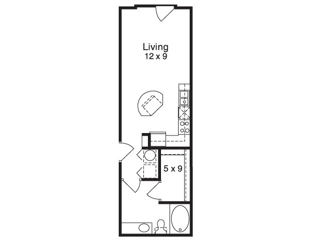 481 sq. ft. E2 floor plan