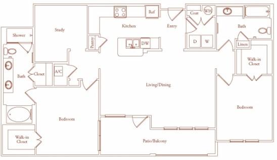 1,444 sq. ft. Segovia Two floor plan