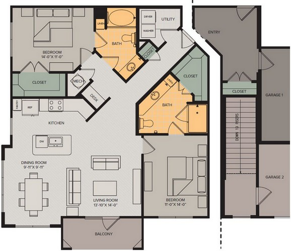 1,276 sq. ft. Vista III floor plan