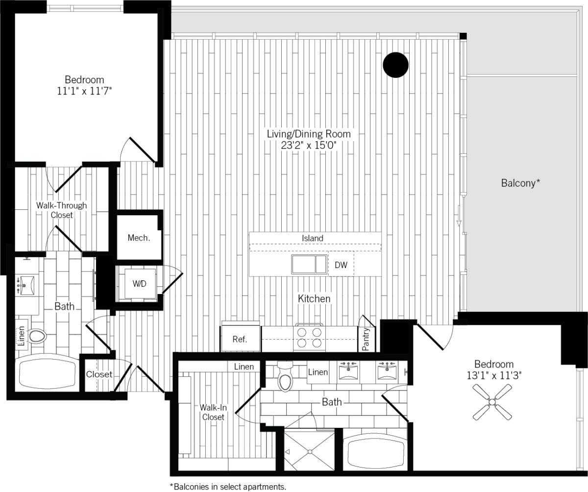 1,297 sq. ft. 2D floor plan