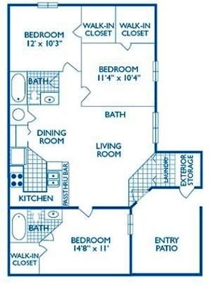 1,174 sq. ft. Fredricksburg floor plan