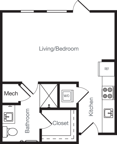 434 sq. ft. OJ floor plan