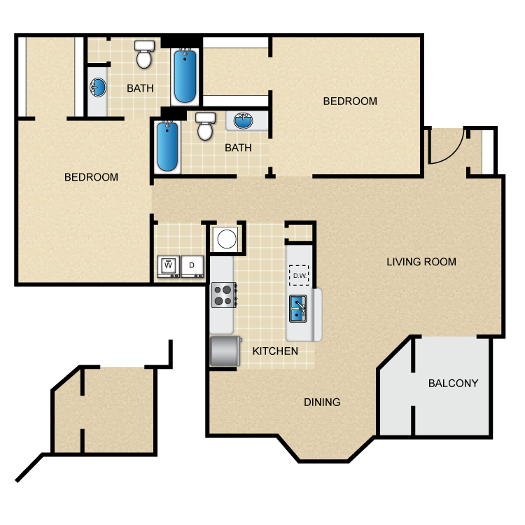 1,138 sq. ft. floor plan