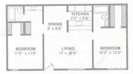 902 sq. ft. B2 floor plan