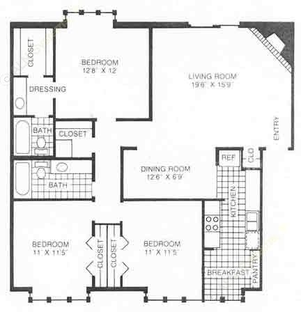 1,383 sq. ft. A3 floor plan