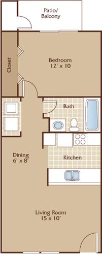 560 sq. ft. Austin floor plan