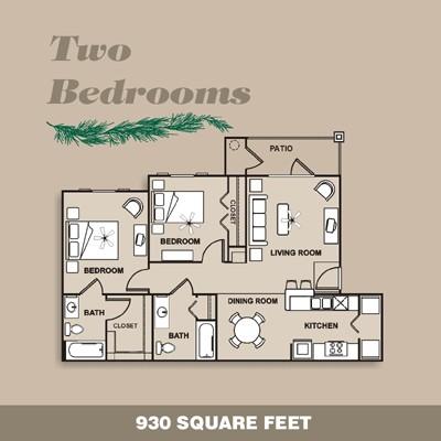 930 sq. ft. 60 floor plan