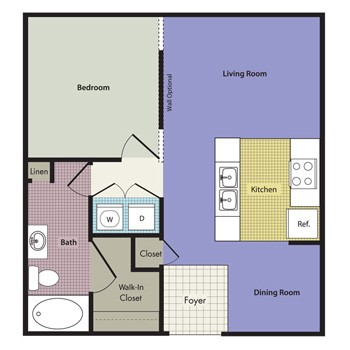 698 sq. ft. to 808 sq. ft. Naples floor plan