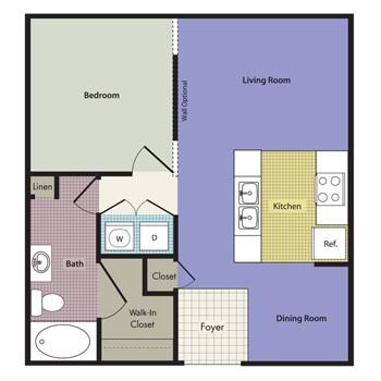 698 sq. ft. to 808 sq. ft. Naples floor plan