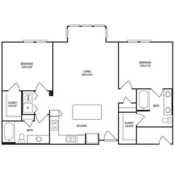 1,120 sq. ft. floor plan