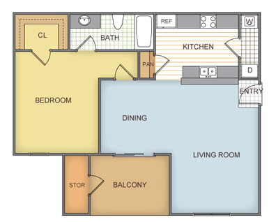 628 sq. ft. Bridlewood - A1 floor plan