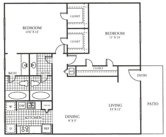 1,061 sq. ft. F floor plan